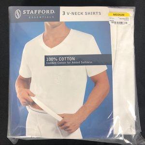 Stafford Three White V-neck Medium Tee NWT